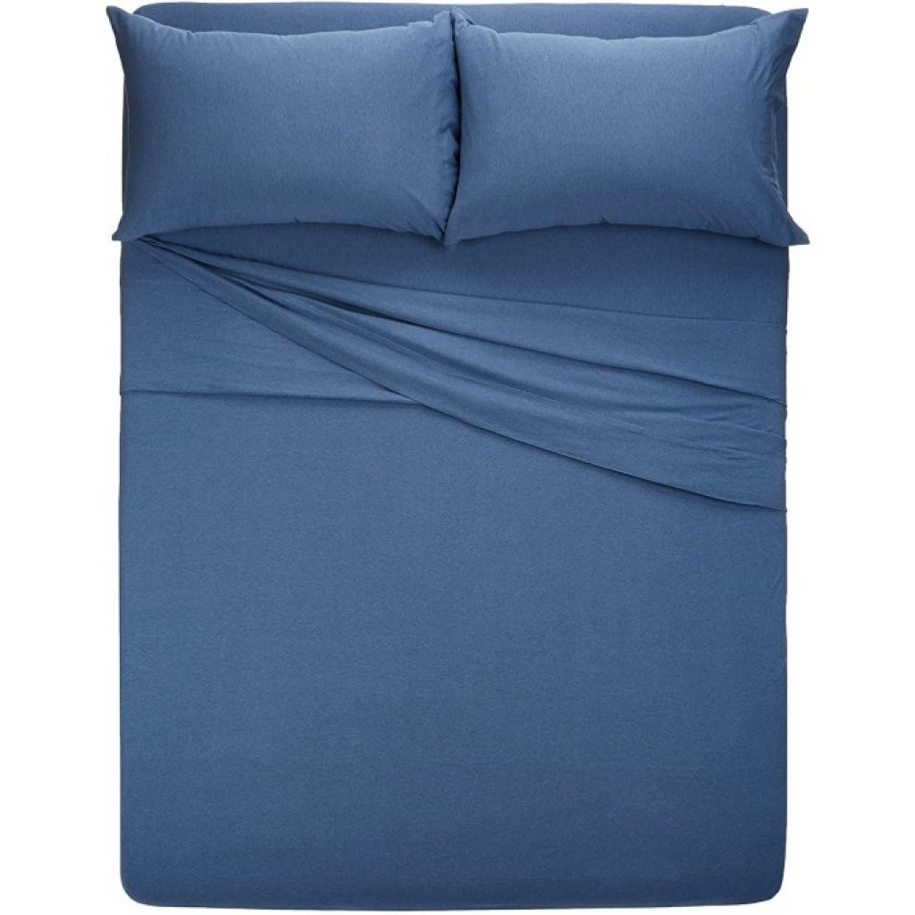 AmazonBasics Heather Cotton Jersey Bed Sheet Set on bed
