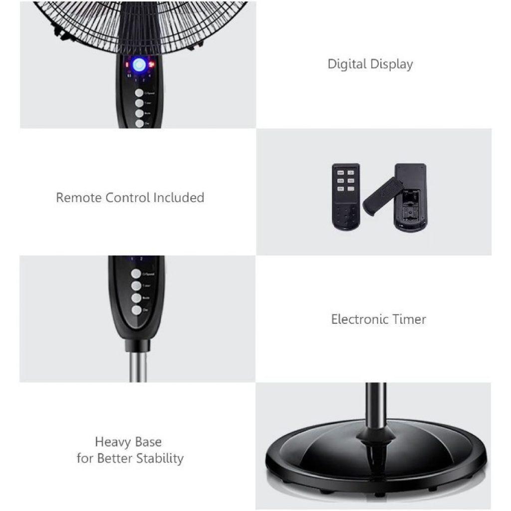 COSTWAY Pedestal Fan, 16-Inch Adjustable Height Fan details