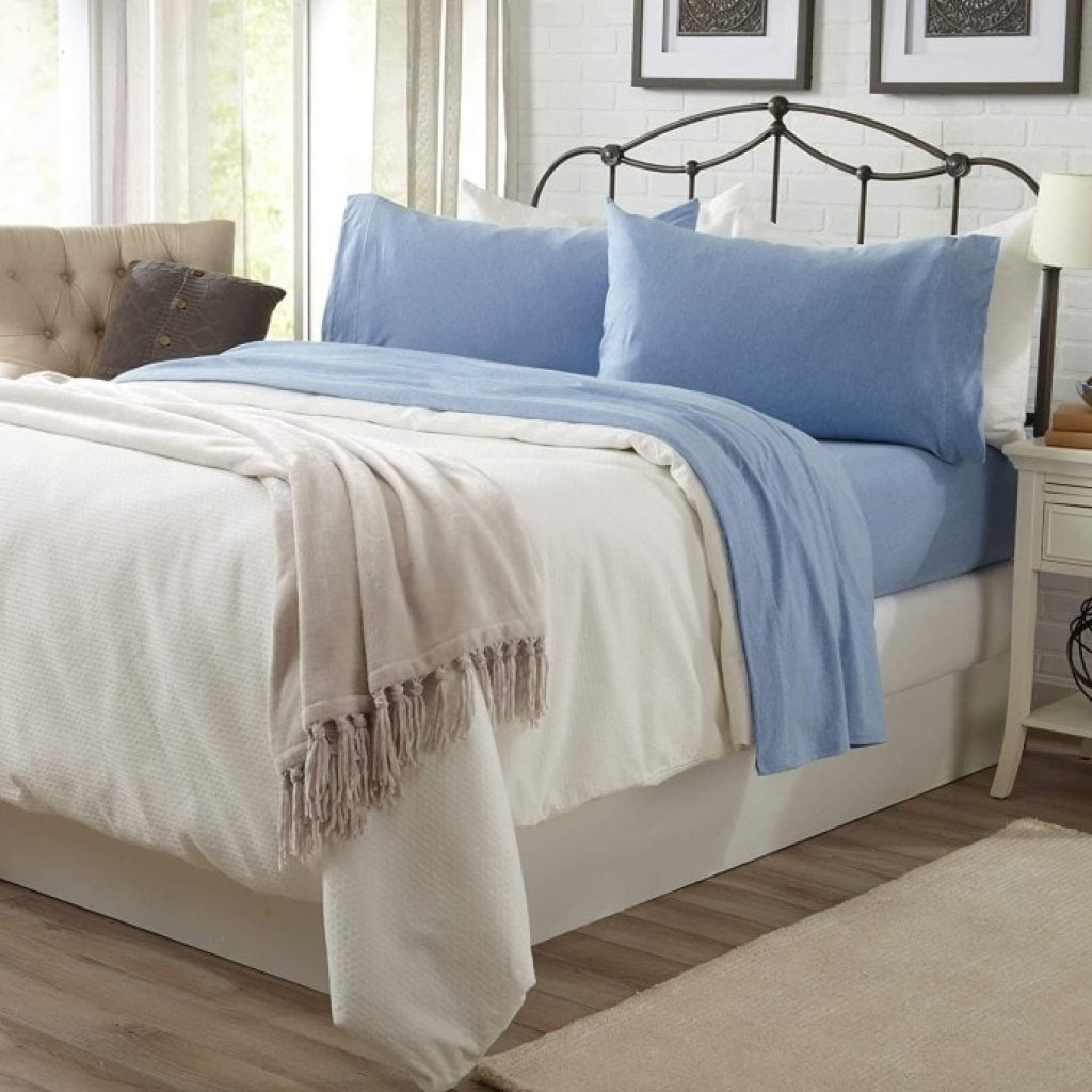 Great Bay Home Jersey Knit Sheets on bed