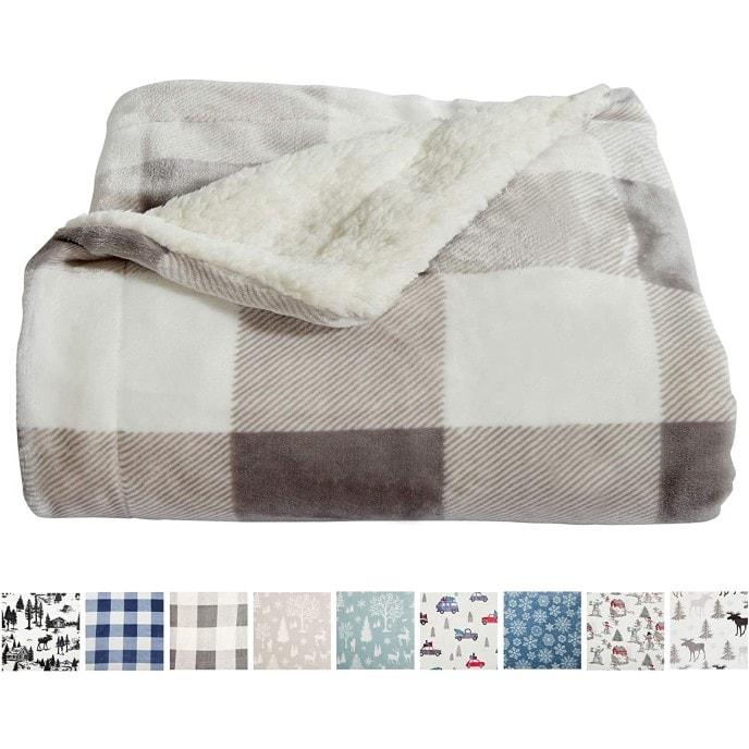Home Fashion Designs Premium Reversible Sherpa and Fleece Velvet Plush Blanket