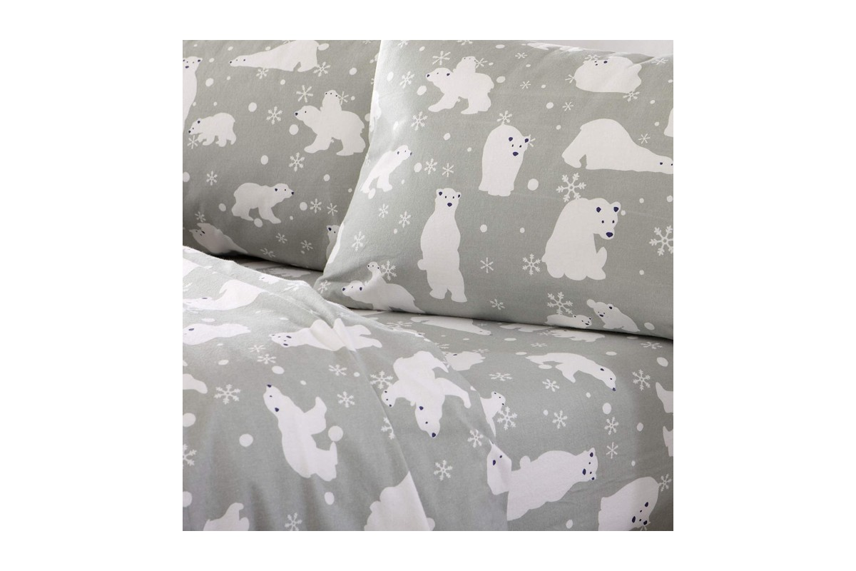 Home Fashion Designs Grey Polar Bears Flannel Sheets