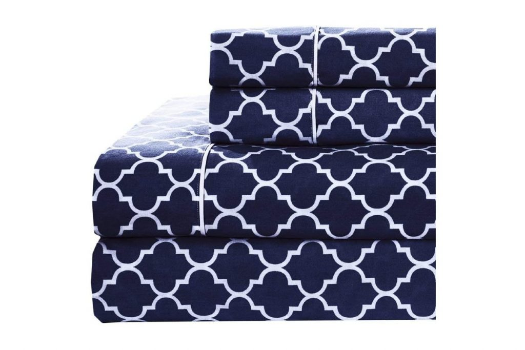 Royal Hotel Meridian Navy and White Brushed Sateen Cotton Sheets
