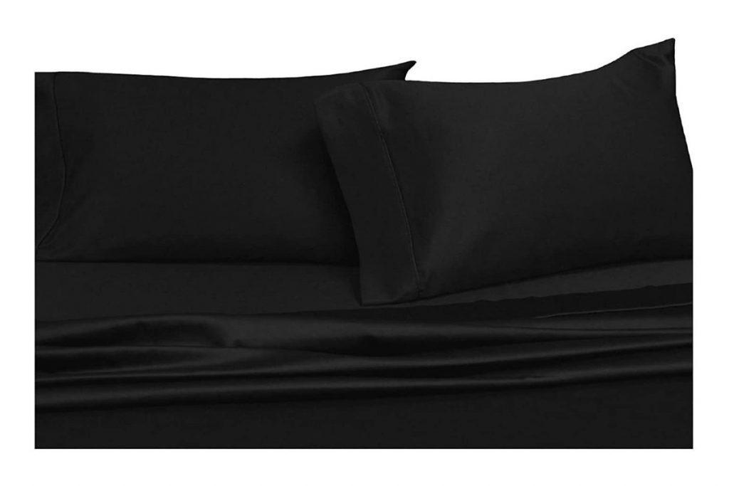 Royal Hotel Split-King: Adjustable King Bed Sheets 5PC Solid Black