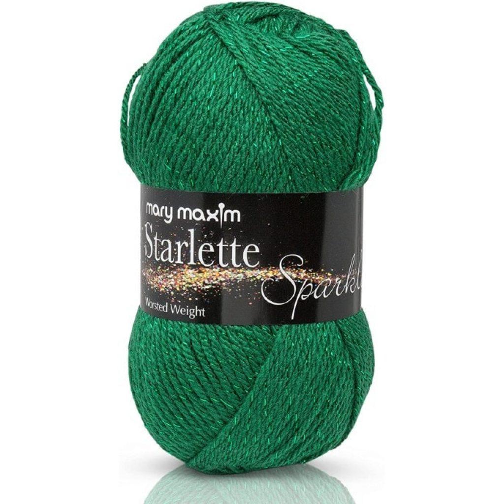 """Mary Maxim Starlette Sparkle Yarn """"Emerald"""""""